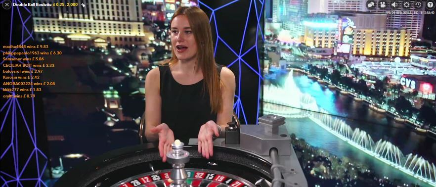 double ball live roulette dealer